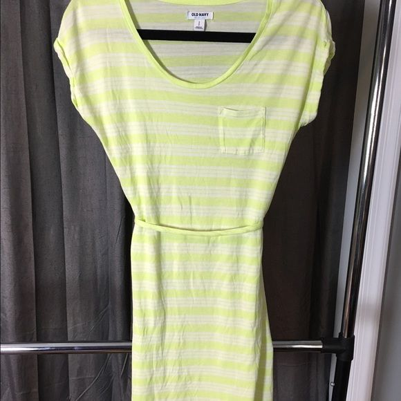 """Old navy dress sz S Super light weight almost lime green/yellow and white stripes. You can take the tie off to add your own cute belt or wear as it is! Goes a little above knee (I am 5'5"""")  worn once in perfect condition!! Can easily also fit a size M Old Navy Dresses Midi"""