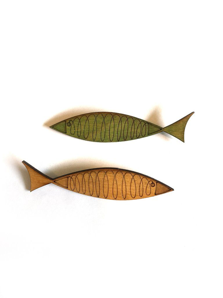 Wood MCM Fish Brooch