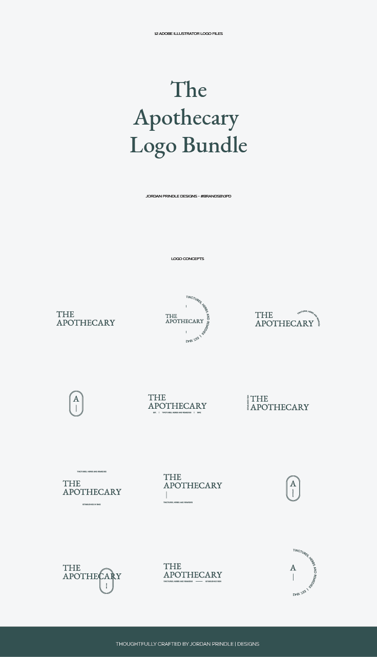 The Apothecary Logo Bundle I Just Release A New Logo Bundle Designed With Ethicalbrands In Mind Check It Out Logo Bundle Apothecary Design Branding Design