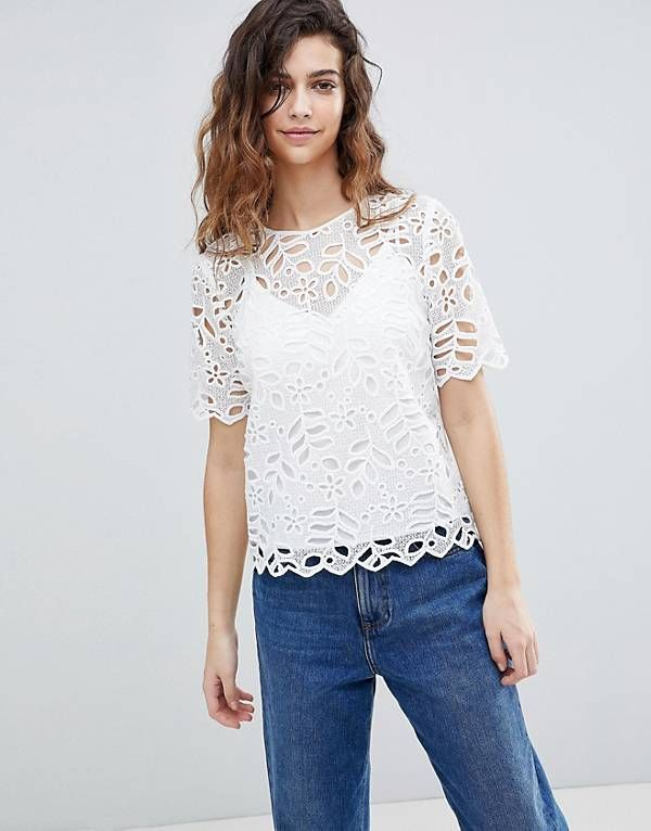 Latest Fashion Trends   New In Women's Clothing   ASOS. Warehouse Lace Cut  Out Scallop Edge Blouse