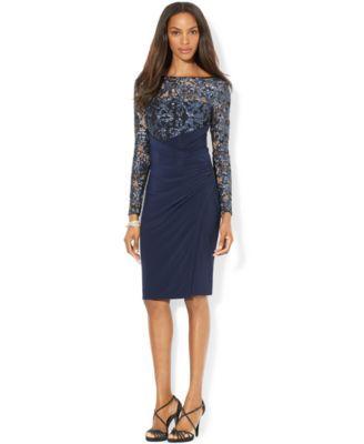 1e44d480 Lauren Ralph Lauren Petite Lace Illusion Faux-Wrap Dress - Dresses - Women  - Macy's