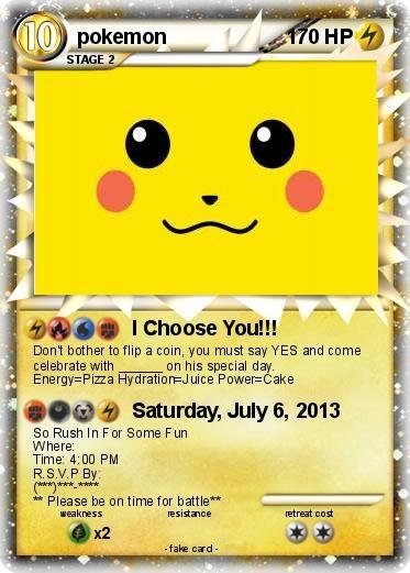 My Pokemon Birthday Invitation Pokemon Party Pokemon Birthday Invites Pokemon Birthday Party