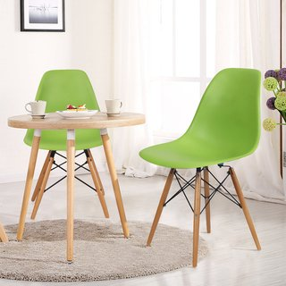 plastic dining chair with wooden legs set of 2 green adeco in rh pinterest com