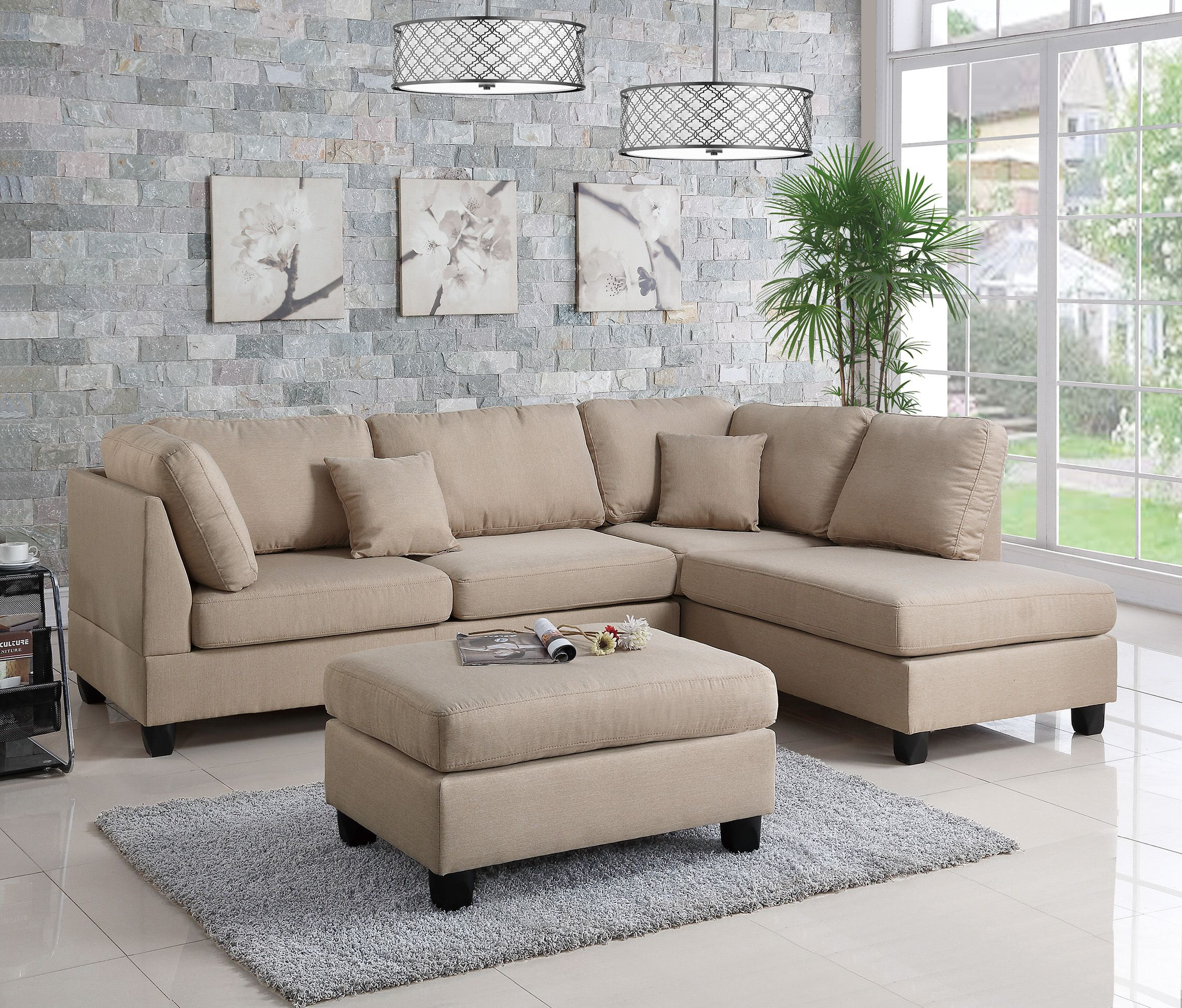 f7605 sand 2 pcs sectional sofa set by poundex in 2019 big girl rh pinterest com