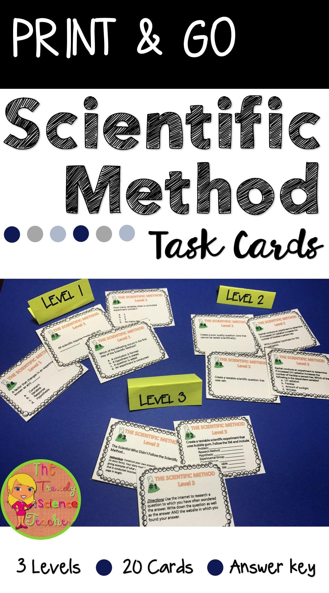 Scientific Method Task Cards Differentiated 3 Levels