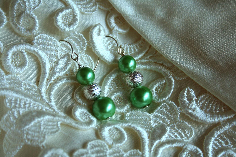 Amelia Bridal Pearl Earrings Green Pearl & Silver by ScarlettRose. $12.00, via Etsy.