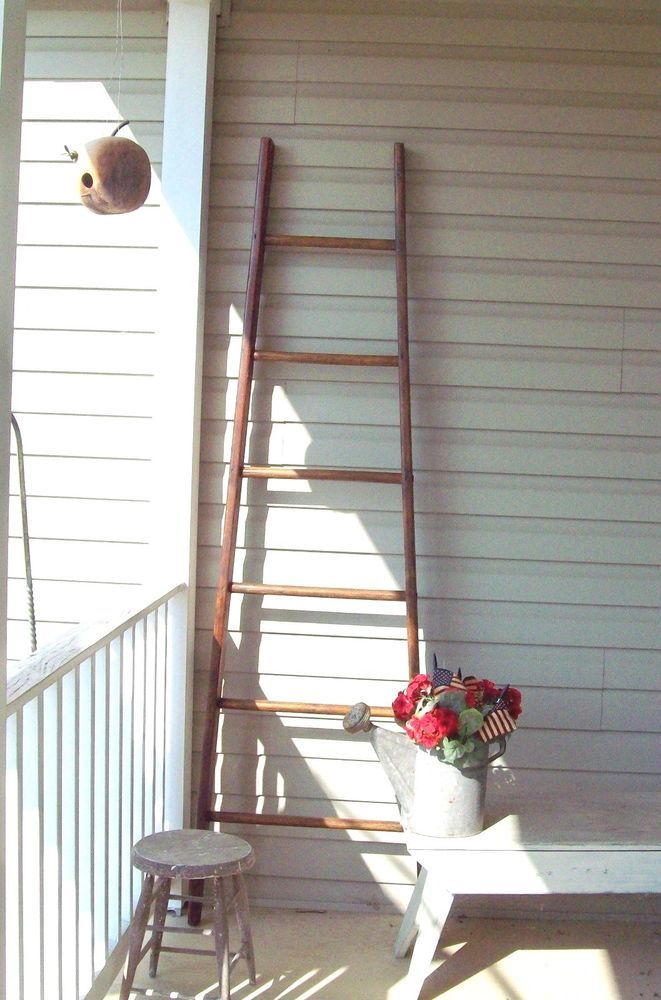 Authentic Vintage Apple Orchard Ladder Antique 6ft 10 In Refinished 100yrs Old Beautiful Bedroom Decor Vintage Apple Antiques