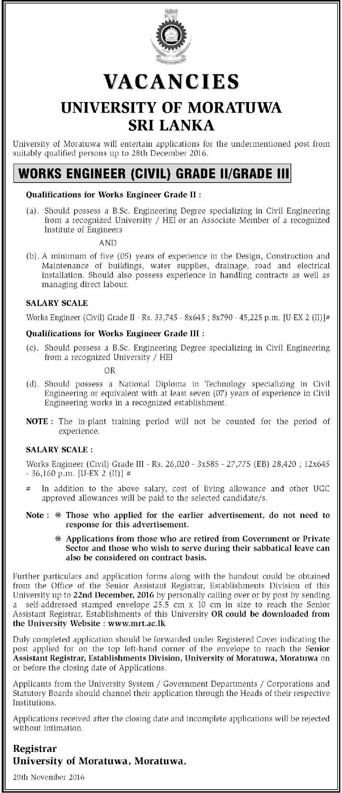 sri lankan government job vacancies at university of moratuwa for civil engineers - Senior Civil Engineer Jobs