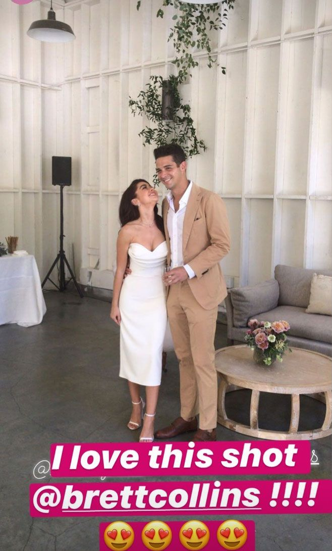 Sarah Hyland Wears Strapless White Dress as Wells Adams Cracks a Joke at Their Engagement Party
