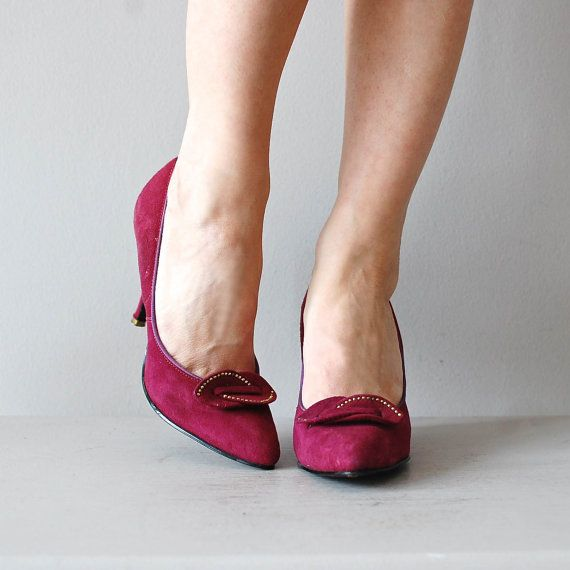 3808cdad394 Vintage 1950s raspberry brushed leather heels with studded detail at the  toebox