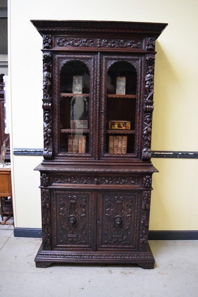 Antikes monumentales neorenaissance Aufsatz Buffet, Bücherschrank