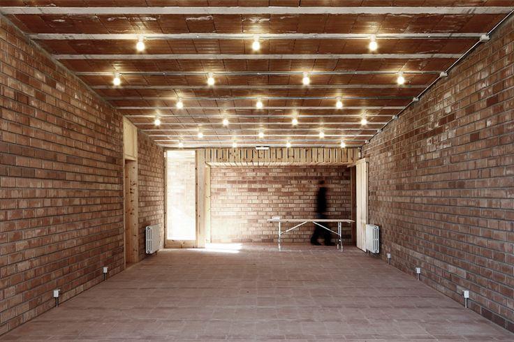 Maybe a brick wall in the yoga studio?