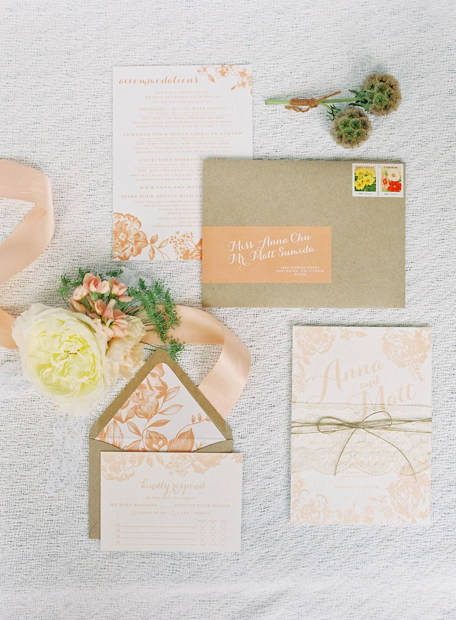 paper style wedding invitations%0A Peach Inspired Farm Wedding at Carneros Inn via Style Me Pretty  image by  Jen Huang Photography  stationery Charmed Events Group