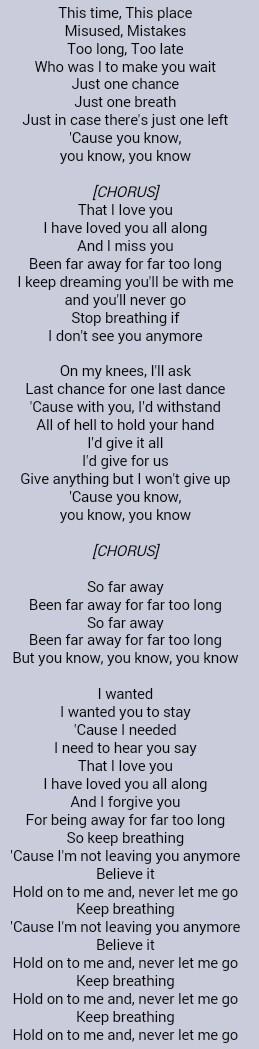 Cause You Re Far Far Away Lyrics