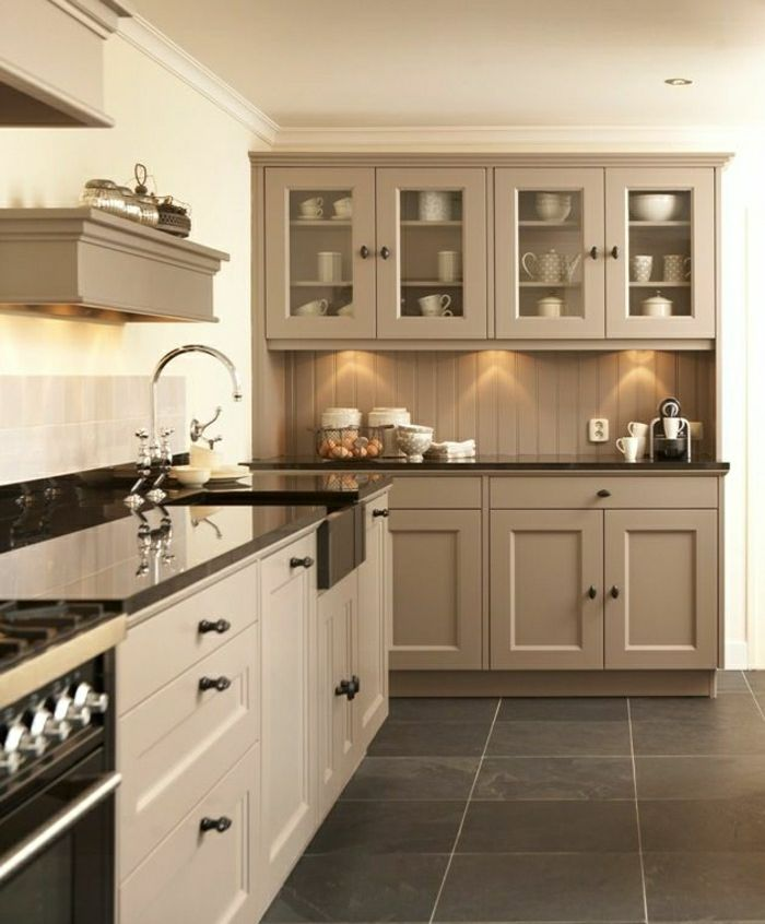 aujourd hui nous sommes inspir s par la couleur taupe kitchens armoires and kitchenette. Black Bedroom Furniture Sets. Home Design Ideas
