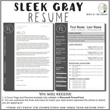 Teacher Resume Template Sleek Gray And White With Images