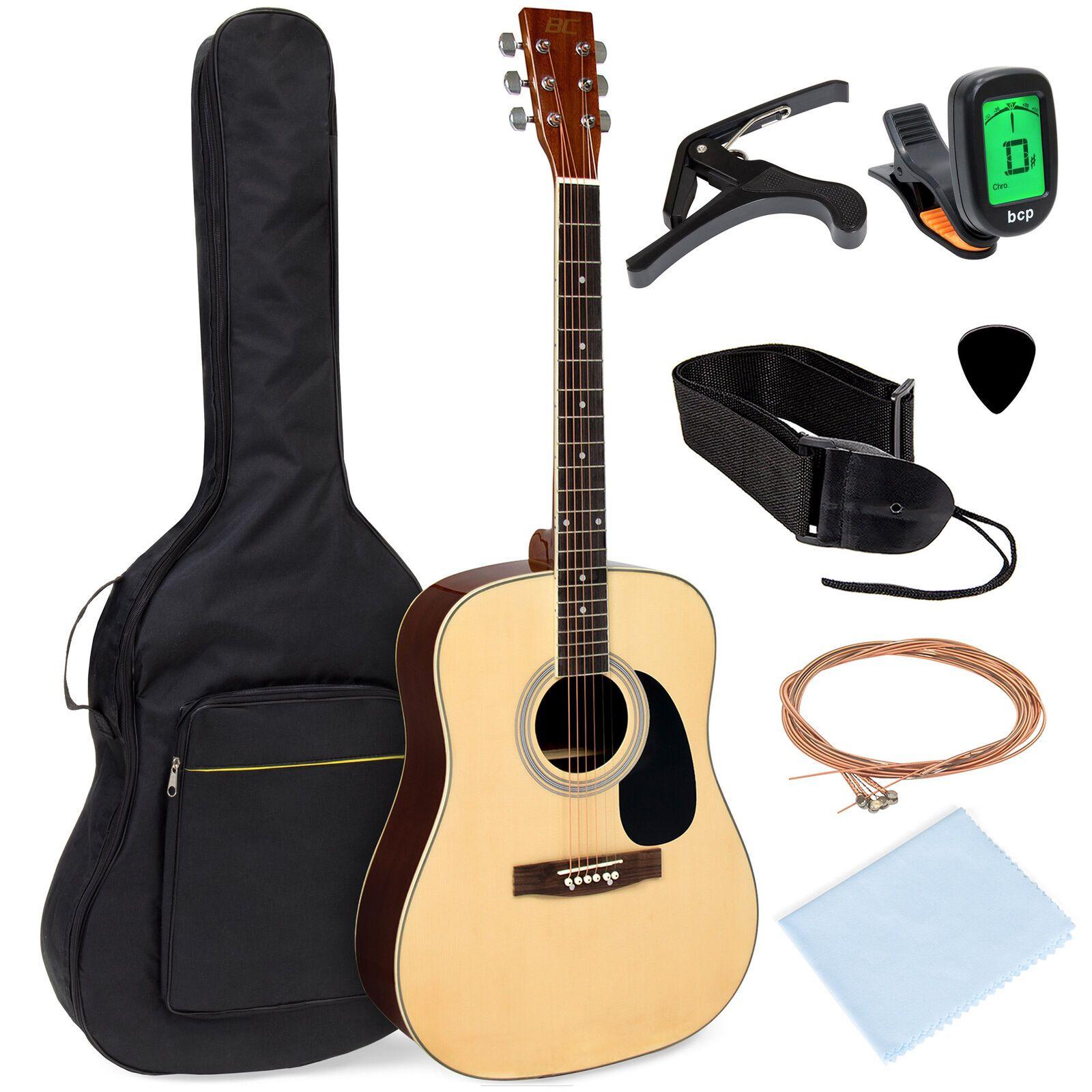 Bcp 41in Acoustic Guitar Starter Kit W Digital Tuner Padded Case Picks Strap Best Acoustic Guitar Guitar Kits Acoustic Guitar