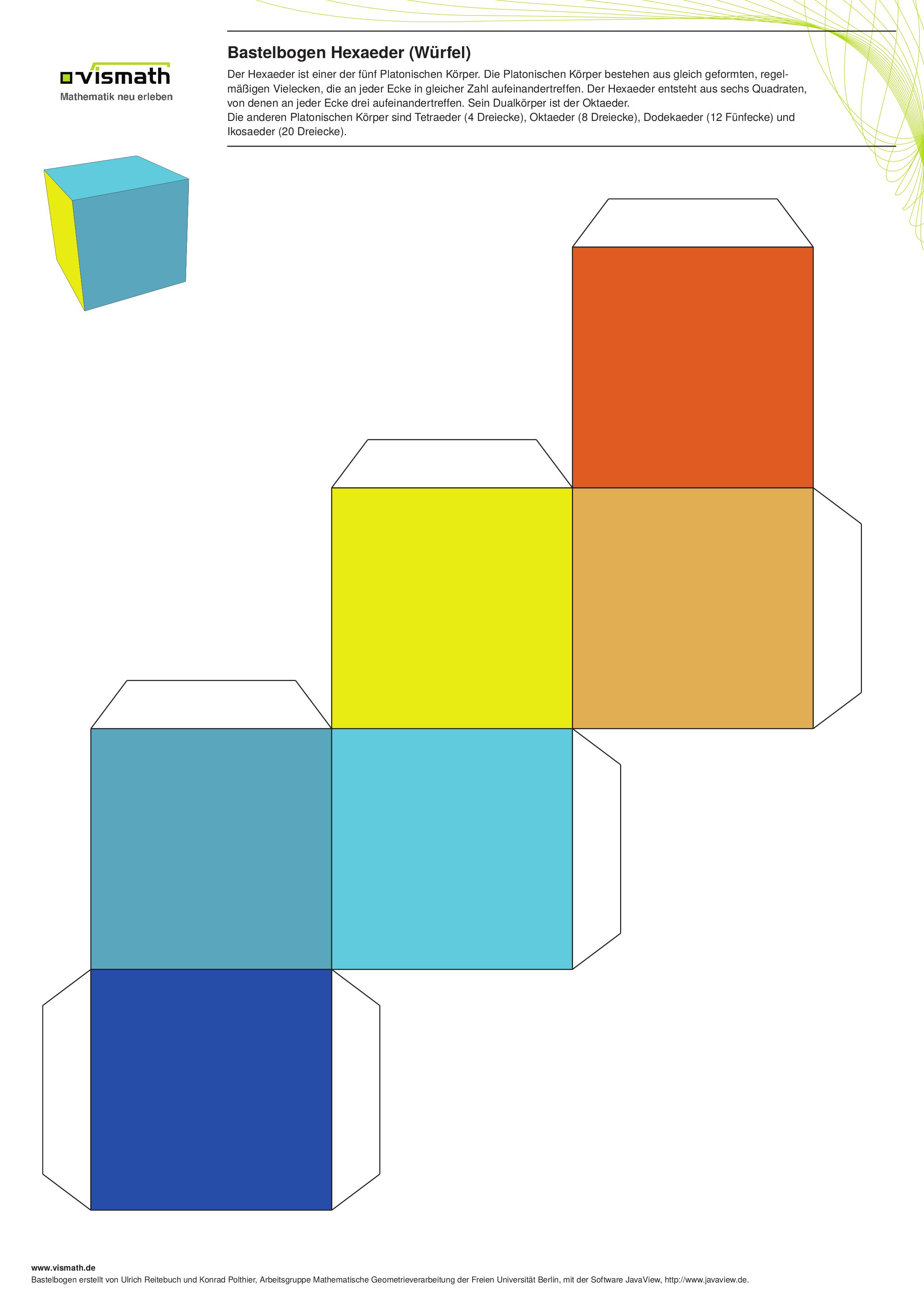 Platonische Körper Basteln. Ein Set mit fünf Bastelbögen. Hier ...