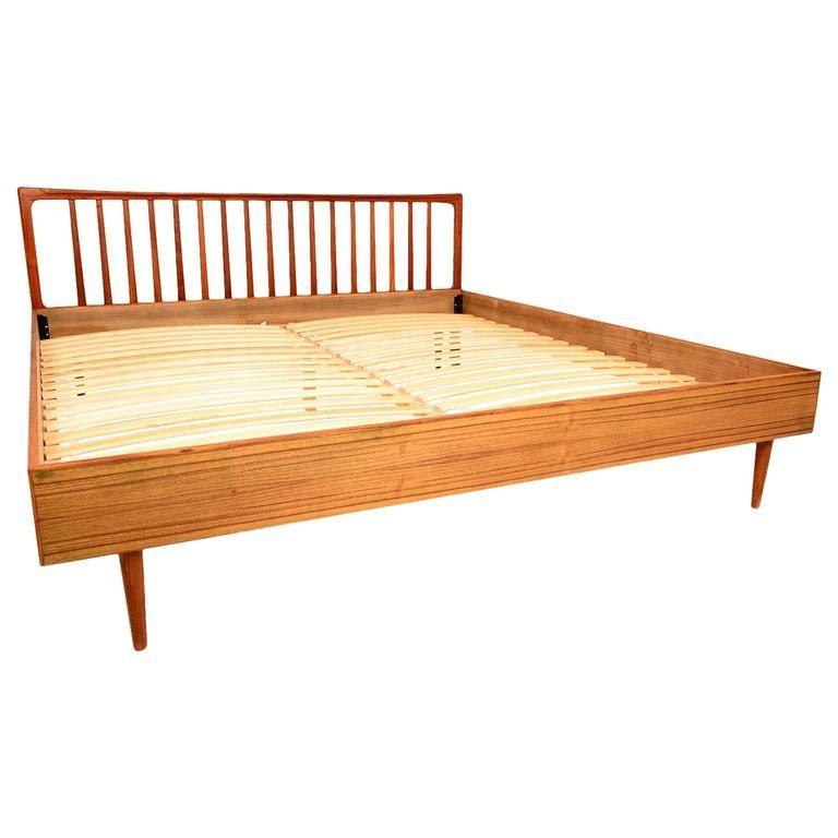 danish modern king teak bed frame and headboard bedroom bed rh pinterest com