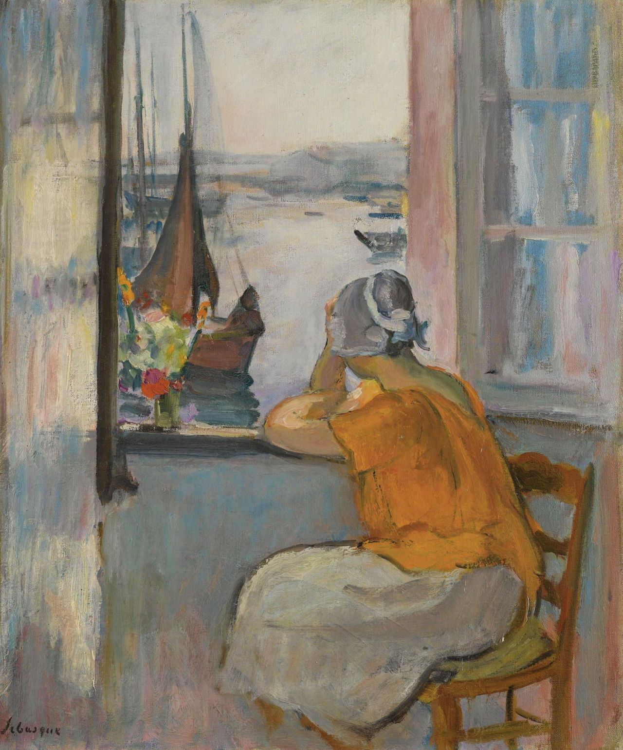 Картинки по запросу giclee painting: lebasque's young girl at the window opposite the isla
