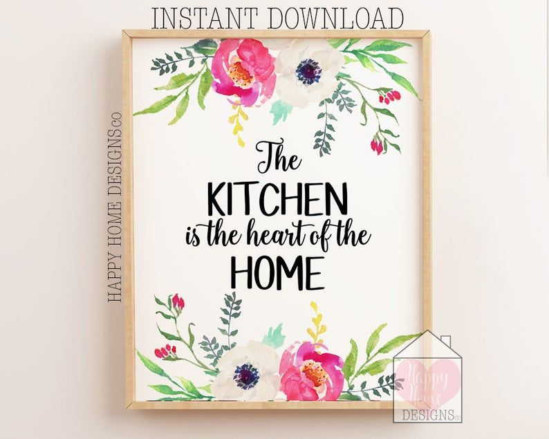 The Kitchen Is Heart Of Home Printable Etsy In 2021 Wall Art Printables