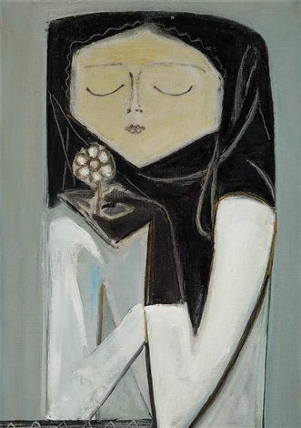 Avni Arbas (Turkish, 1919–2003) Title: Çiçek Koklayan Kız Medium: oil on canvas Size: 55 x 38 cm. (21.7 x 15 in.)