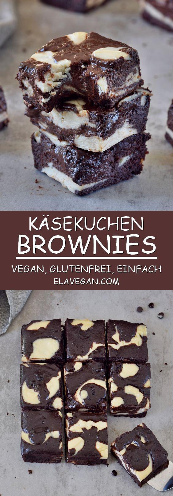 Käsekuchen Brownies | vegan, glutenfrei, schokoladig - Elavegan