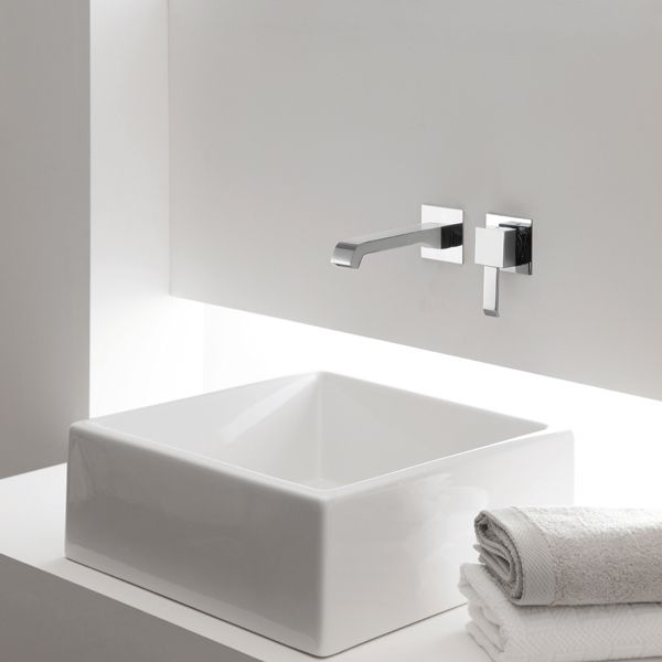 Vasque à poser 40x40 cm en céramique Tank - Meubles SDB Pinterest - Meuble Vasque A Poser Salle De Bain