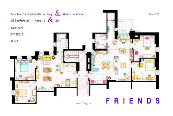 Print Of The Floorplan Of The Apartments From Friends Friends Apartment Tv Show House Apartment Layout