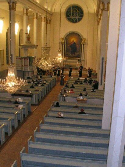 Orimattilan kirkko, urkuparvelta kuvattu