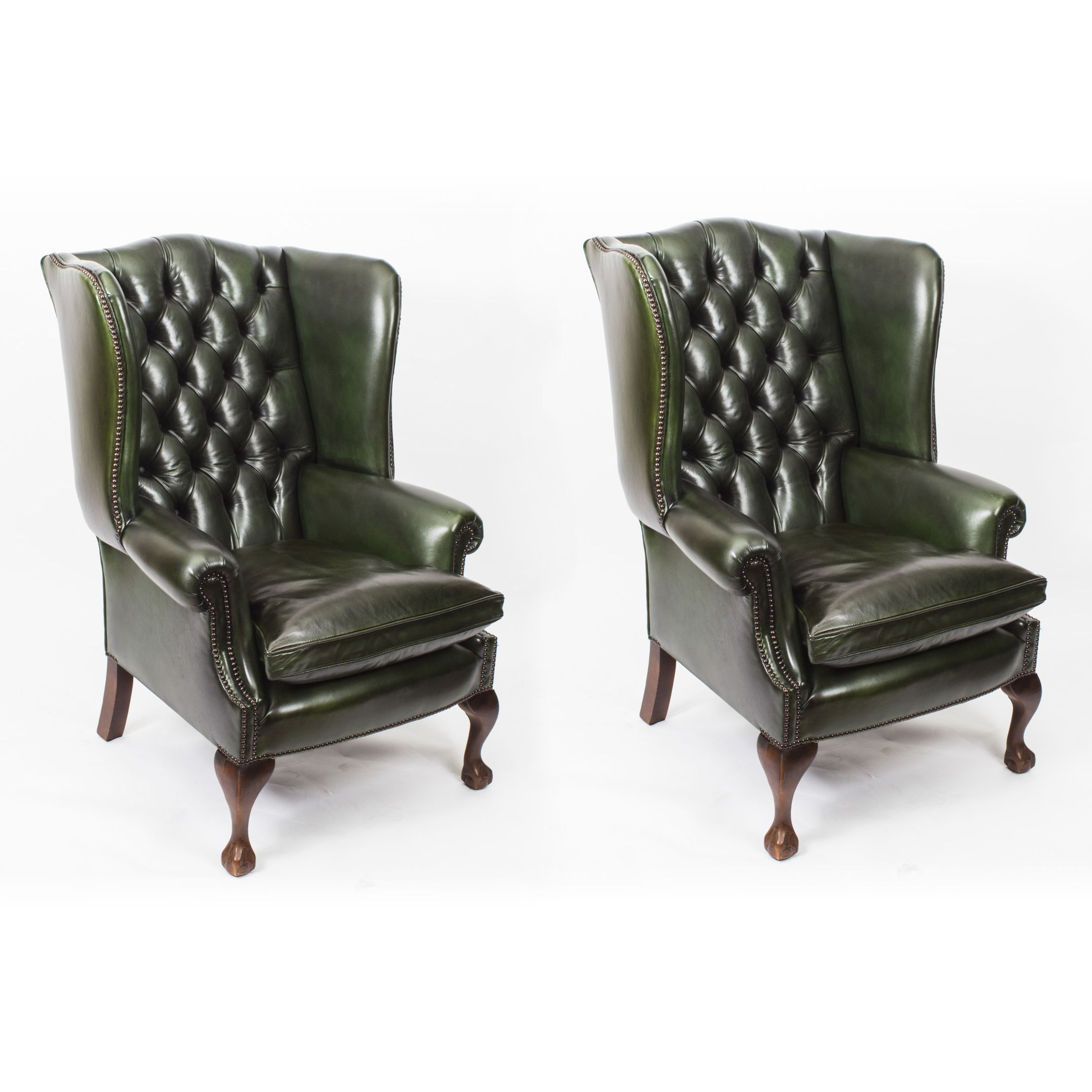 Bespoke pair leather chippendale wingback armchairs alga