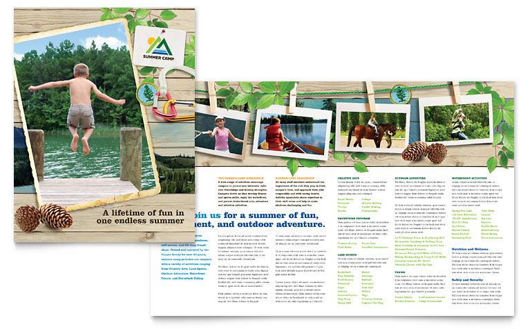 Kids Summer Camp Brochure  Word Template  Publisher Template