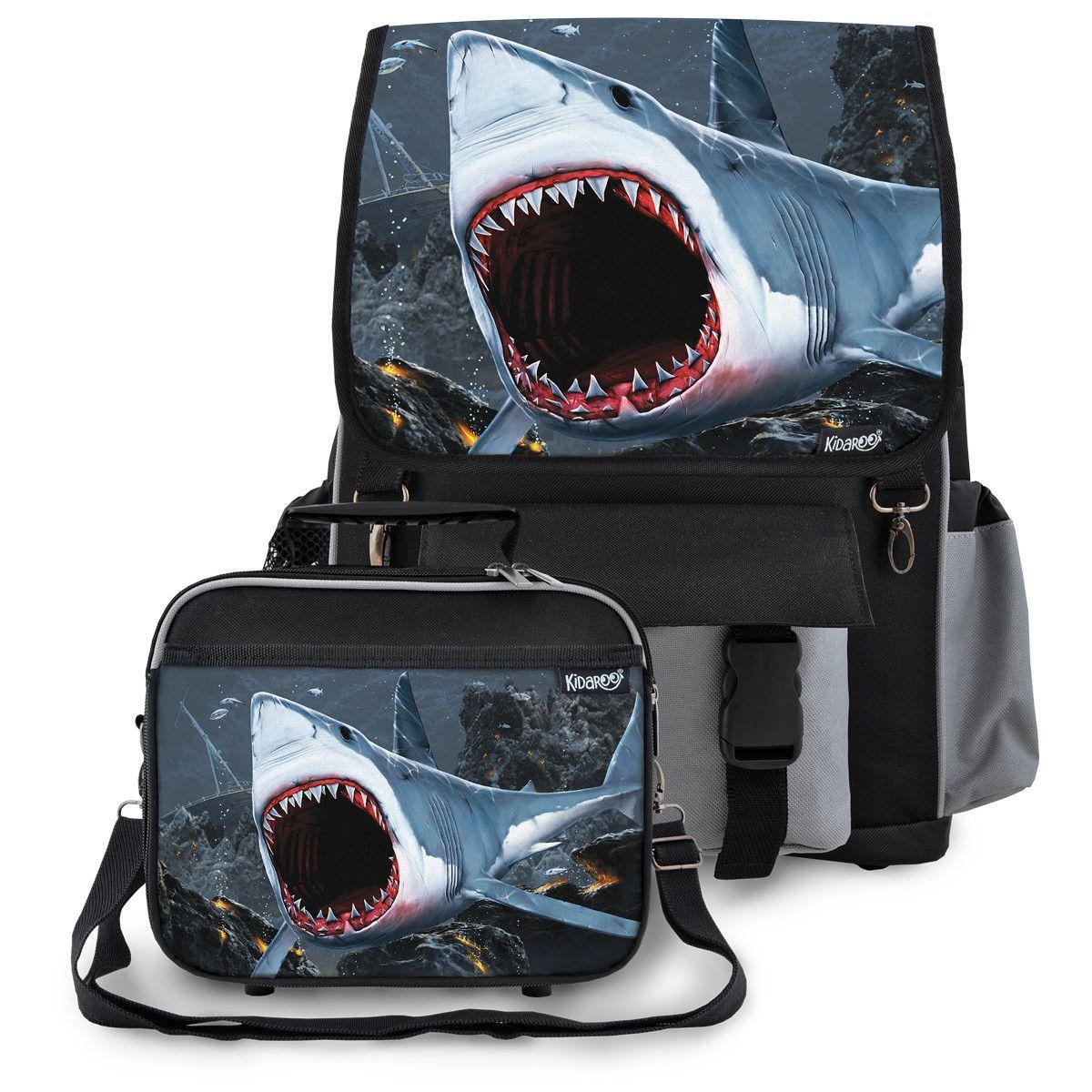 Great White Shark Bite School Backpack &