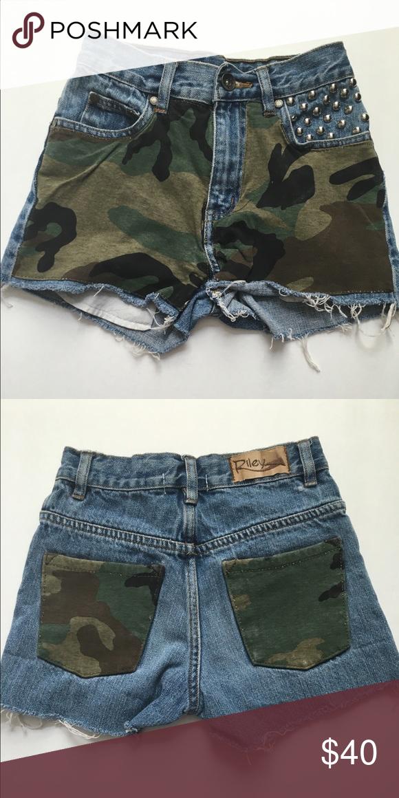 Camo Short Vintage Camo Denim Short with Camo pockets Riley Bottoms Shorts