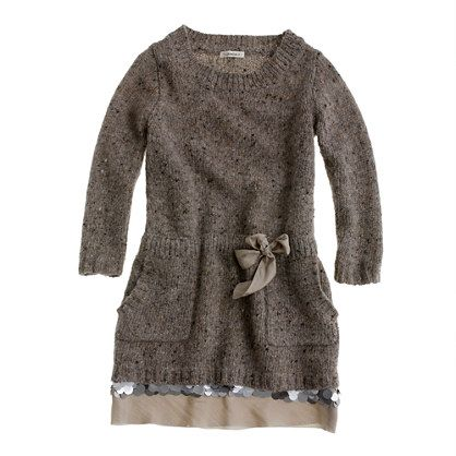 Girls' shimmer-trim sweater-dress...would love to make a sweater ...