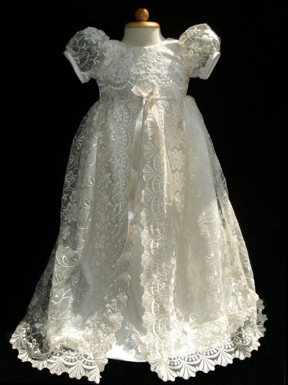 Baby Flower Girl Dress Fancy Wedding Holiday Baptism White Size 12 18 24 months