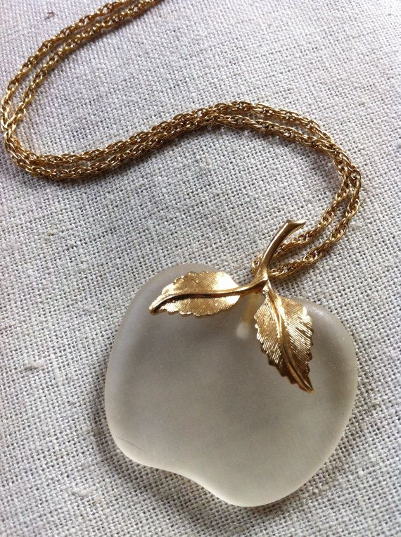 Frosted Acrylic Apple Necklace by millievintage on Etsy