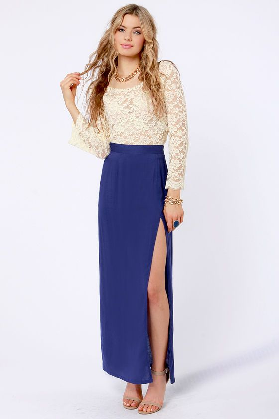 c3fa9f0e4a She's Got Legs Royal Blue Maxi Skirt | Maxi Skirts/Dresses && High ...