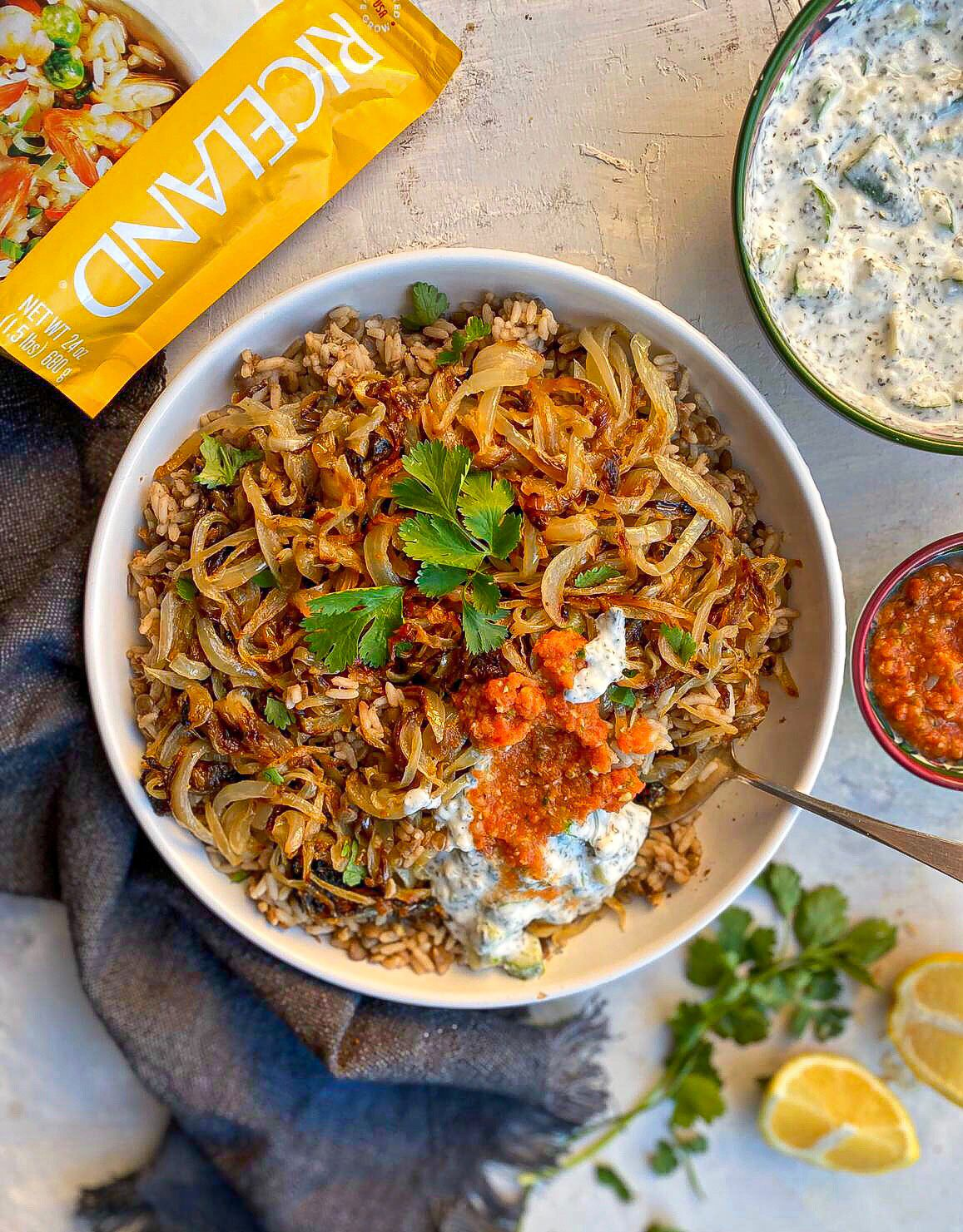 Mujadara (A Middle Eastern Rice & Lentil dish topped with ...
