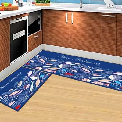 2PCS Modern Kitchen Mat Anti Slip Floor Rugs Living Room Balcony Bathroom  Carpet Set Doormat
