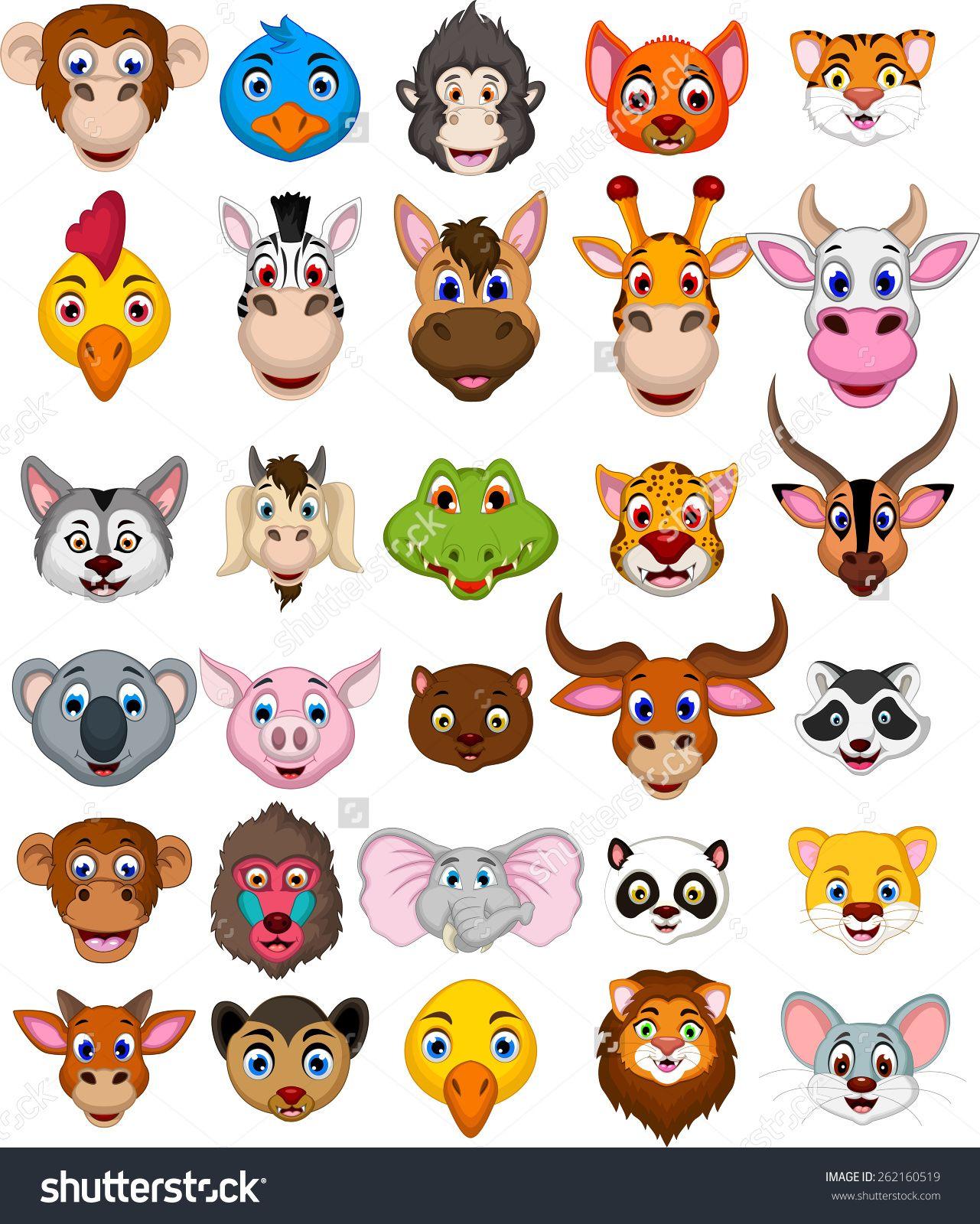 Big Animal Head Cartoon Collection Stock Vector Illustration 262160519 Shutterstock Big Animals Cartoon Animals Animal Heads