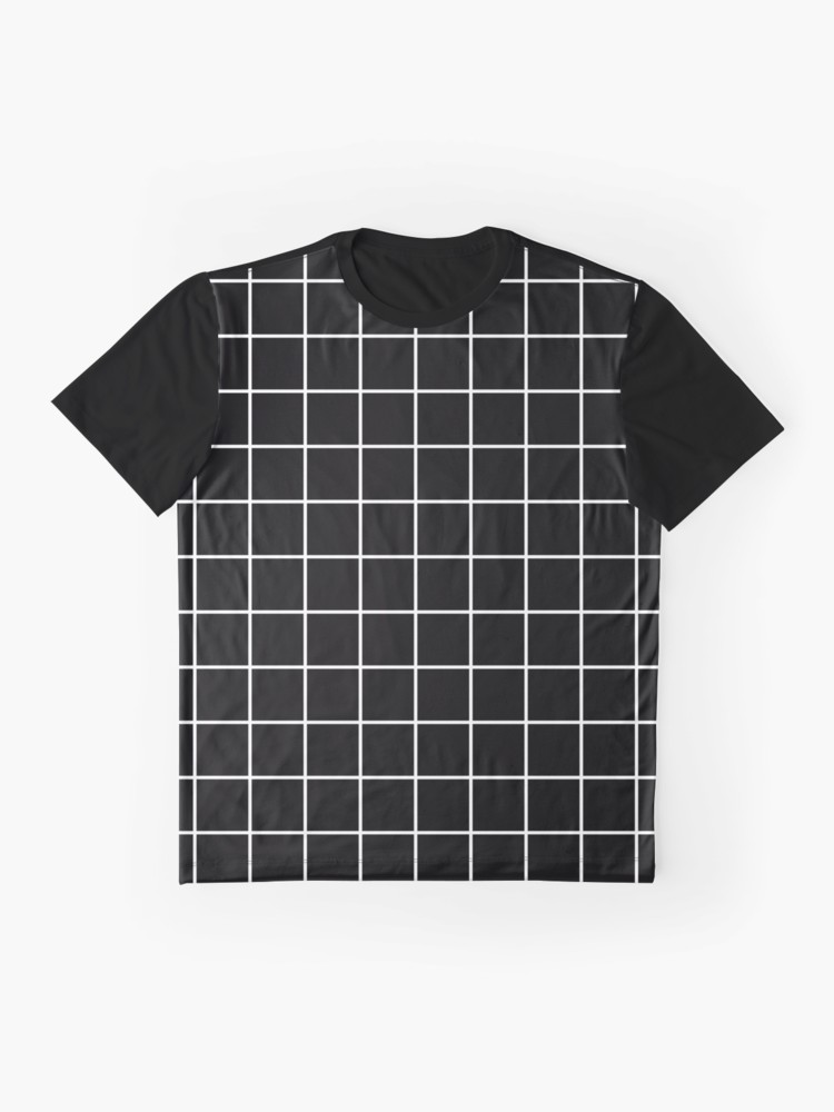 Black Grid White Lines Black Aesthetic T Shirt By Trajeado14 Redbubble Aesthetic T Shirts Black Aesthetic Shirt Designs