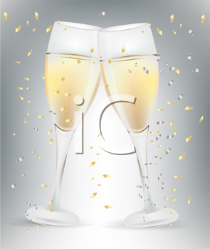 Iclipart Two Celebration Champagne Glasses And Confetti This Is To A Happy New Year Champagne Glasses Champagne Alcoholic Drinks