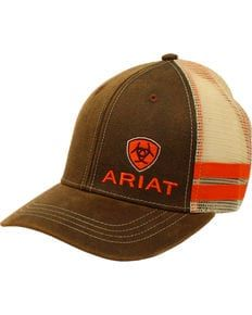 da283e835a090 Ariat Mens Brown Side-Striped Baseball Cap