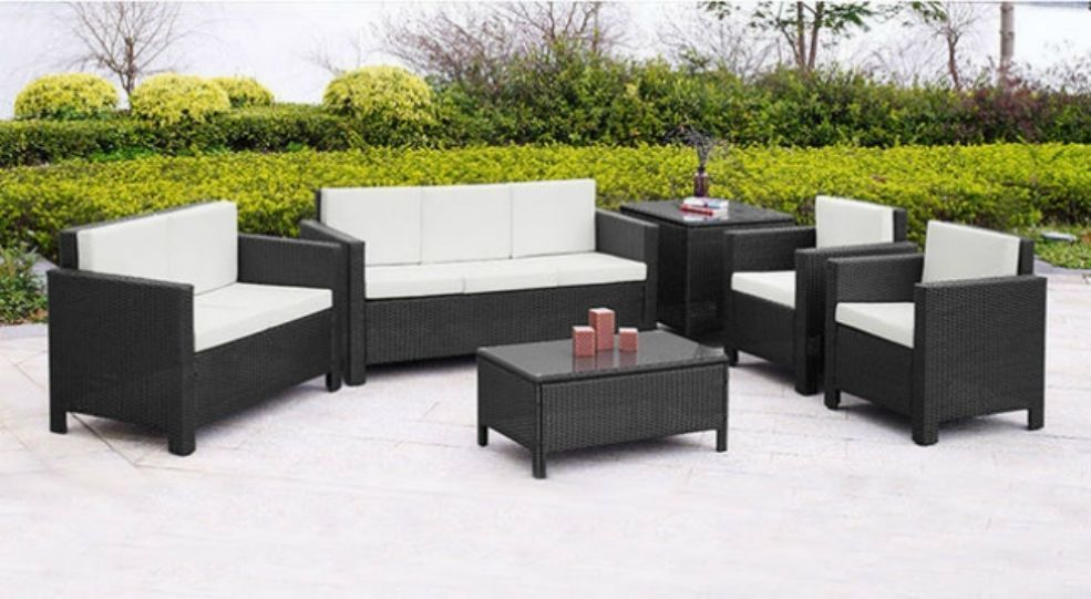 rattan garden furniture set sofa chairs table conservatory outdoor rh pinterest com