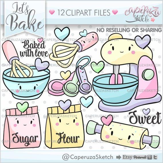 Baking Clipart Baking Graphics Kitchen Clipart Commercial Etsy In 2021 Clip Art Digital Scrapbook Paper Doodles