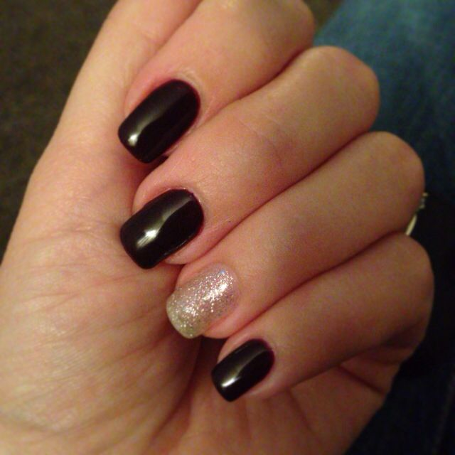 Midnight Purple and Gold Glitter gel nails designed by Heather ...