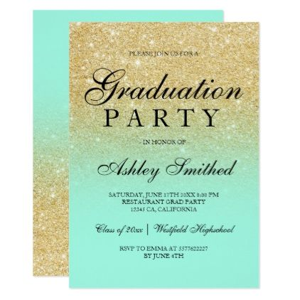 Chic faux gold glitter mint green graduation party invitation chic faux gold glitter mint green graduation party card graduation party invitations card cards cyo stopboris Choice Image