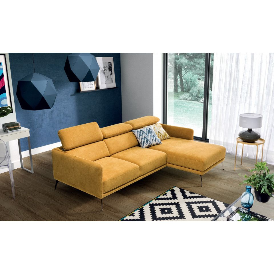 Corner Sofa In Yellow Fabric In 2020 Yellow Corner Sofas Corner Sofa Living Room Decor Apartment