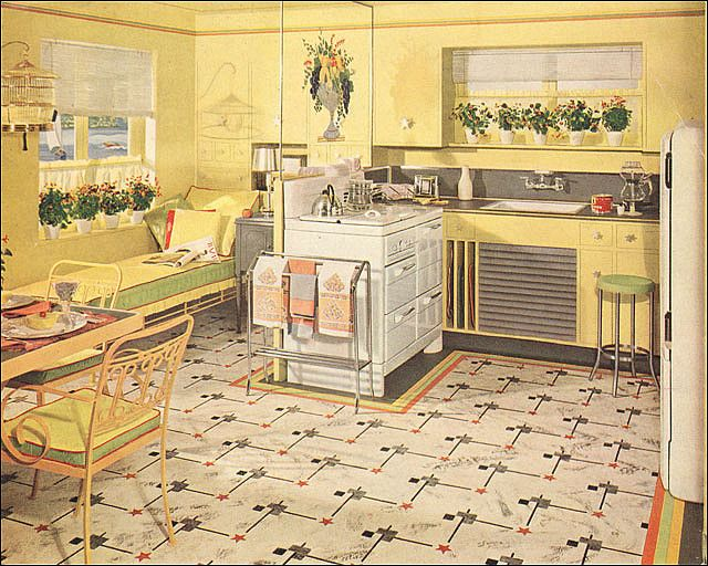 1941 Yellow Green Armstrong Kitchen Vintage Kitchens And